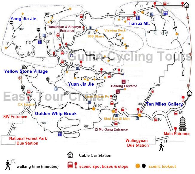 Hike Map of Zhangjiejie, Wulingyuan Hike Map, Zhangjiajie National Forest Park Hiking Map, Hike Guide of Zhangjiajie