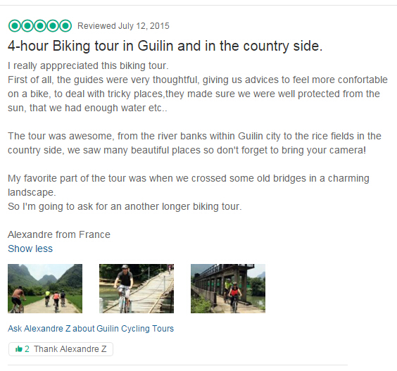 Feedback and reviews of GuilinCyclingTours