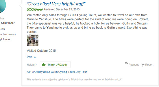 Tripadvisor Reivews of GuilingCyclingTours