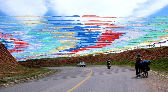 Mountain Bealock in Qinghai, Prayer Flags on Tibetan Highland.
