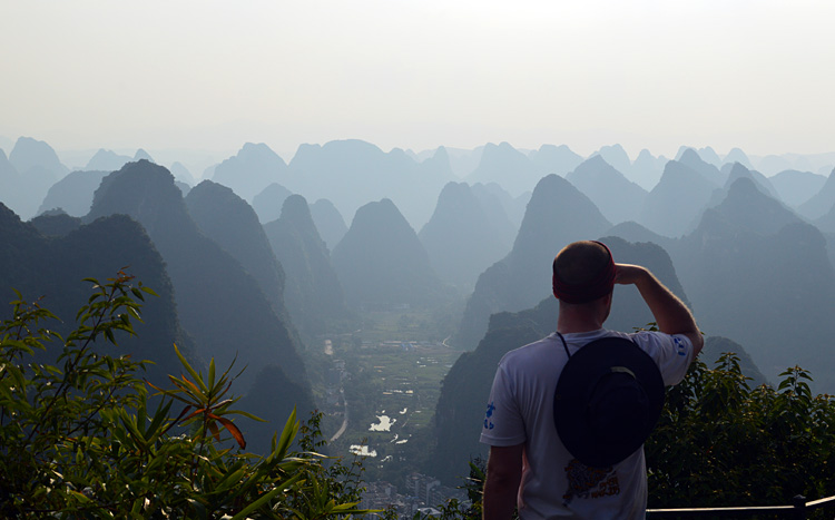 Scenery on Yangshuo Mountains where TV tower locates.