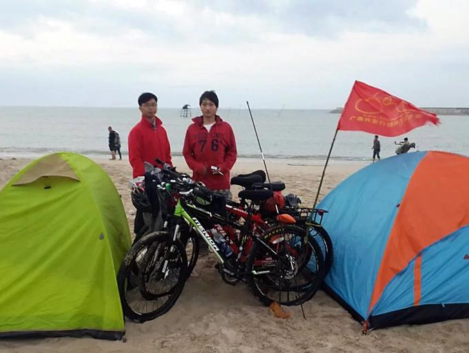 Mark and his friends riding around Hainan island