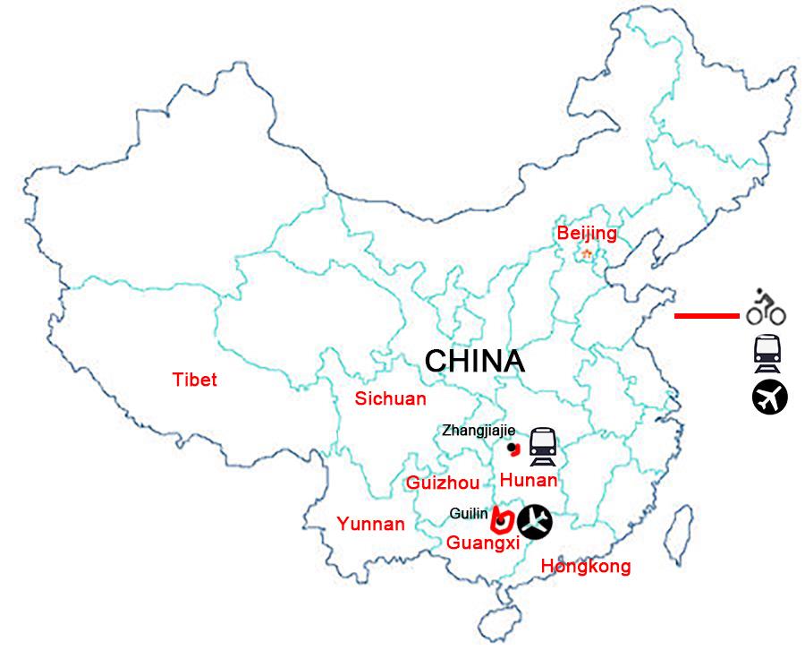 China Bike Tour,Cycle Holiday in China,Bike Route of Zhangjiaije.