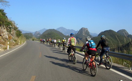 cycling on paved road in Guilin